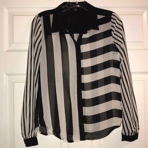 Black & White Striped Button Down Sheer Shirt